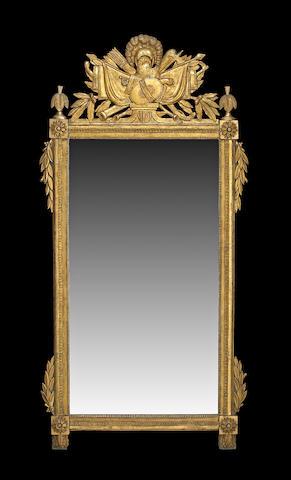 A Louis XVI giltwood mirror  third quarter 18th century