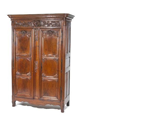 A fine Louis XV  walnut armoire <br>third quarter 18th century