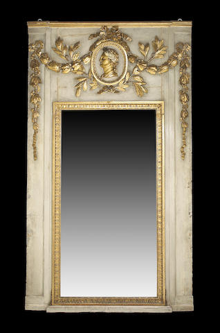 A Louis XVI parcel gilt painted trumeau mirror  mid 18th century