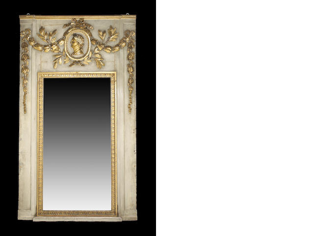 A Louis XVI parcel gilt painted trumeau mirror <br>mid 18th century