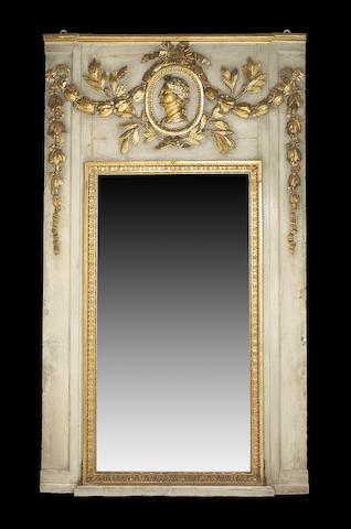 A Louis XVI parcel gilt painted trumeau mirror <br>mid 18th century