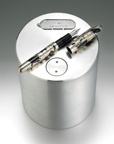 White Gold Overlay Apollo 11 Fountain Pen by Omas