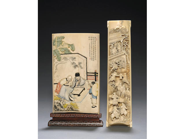Two carved ivory carved plaques