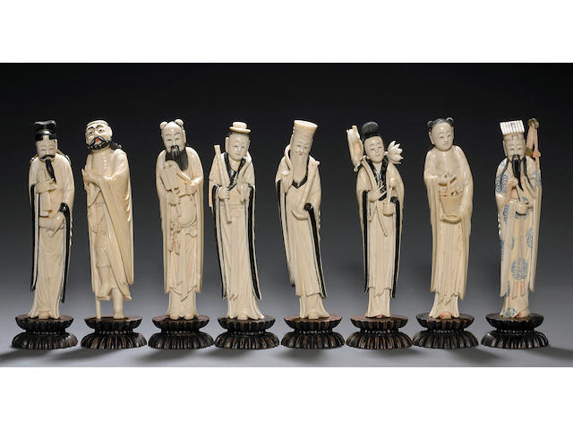 A set of eight tinted ivory immortals Late 19th Century