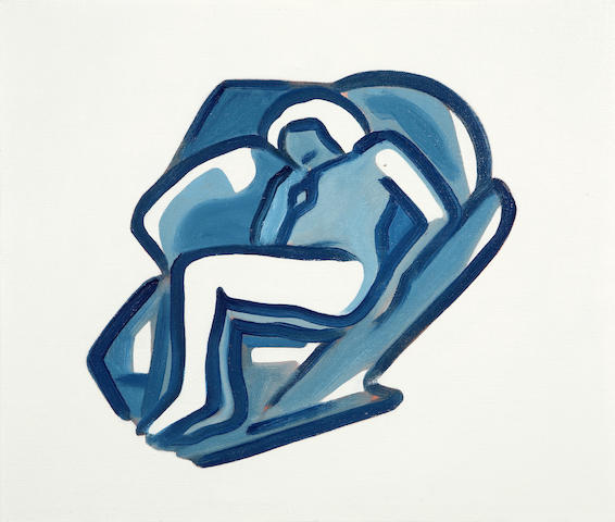 Tom Wesselmann, Study for Blue Nude #17, 2001, oil on canvas, 13 1/4 x 16 1/2in