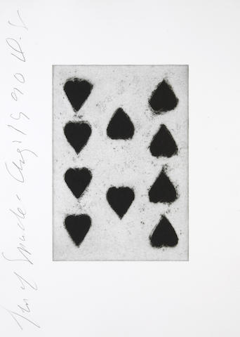Donald Sultan (American, born 1951); from Playing Cards, Ten Spades, August 1, 1990; Six Spades, July 31; (2)