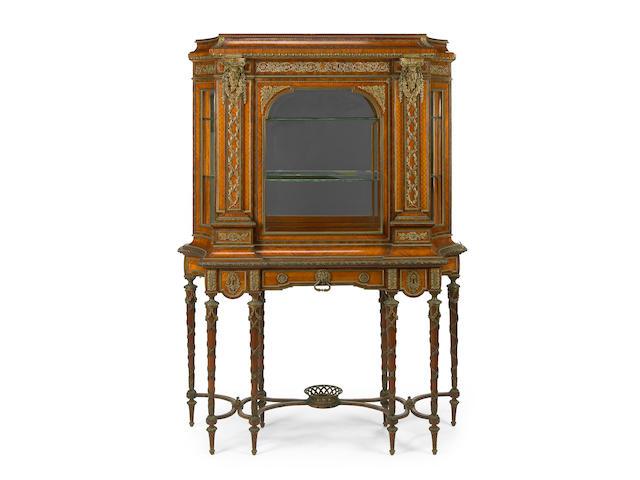 A very good quality Louis XVI style gilt bronze mounted kingwood vitrine  fourth quarter 19th century