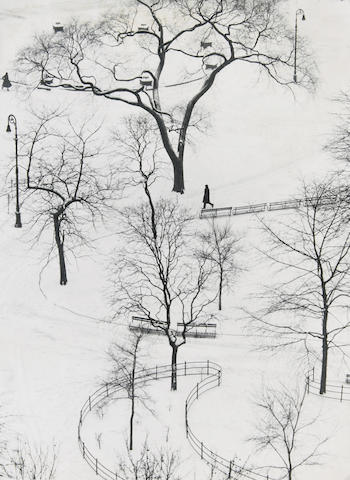 André Kertész (Hungarian/American, 1894-1985); Washington Square, Winter, New York;