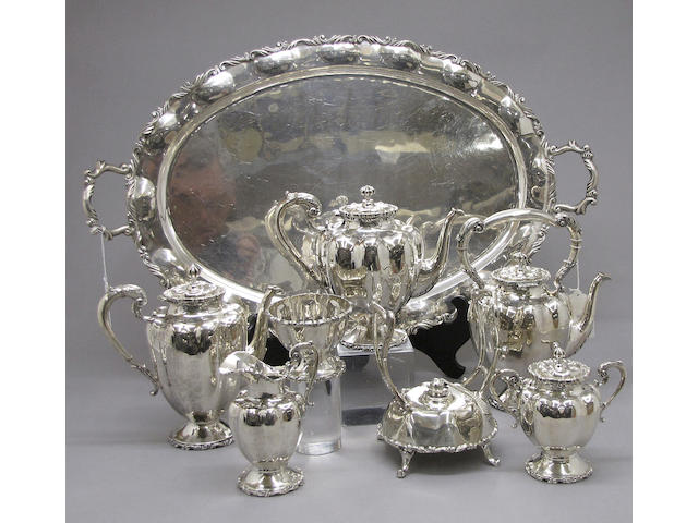 Mexican Sterling Six Piece Tea and Coffee Set with Matching Tray