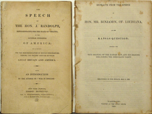 [Americana - Orations & Speeches.] Group of pamphlets.
