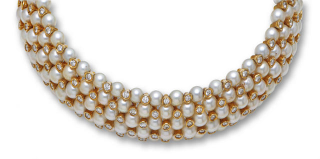 A cultured pearl and diamond choker necklace