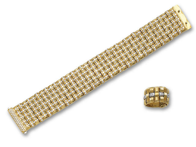 An eighteen karat gold and diamond bracelet and ring, Roberto Coin