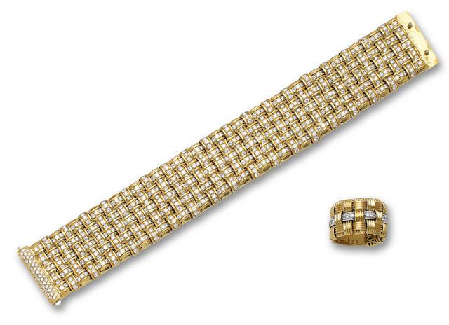 An eighteen karat gold and diamond bracelet and ring, Roberto Coin