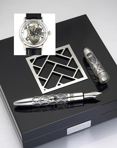 "Transparent and Platinum ""Skeleton"" Fountain Pen and Watch Set by Montblanc"