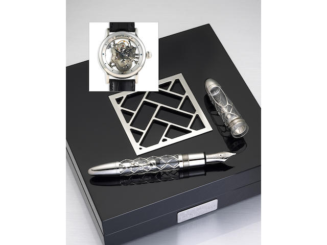 """Transparent and Platinum """"Skeleton"""" Fountain Pen and Watch Set by Montblanc"""