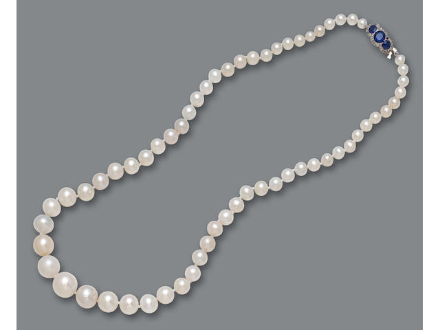 A pearl, diamond and sapphire necklace