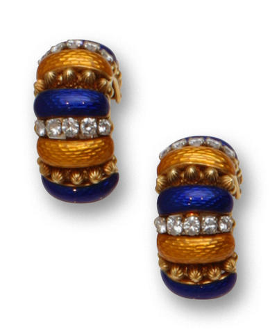 A pair of enamel and diamond earclips