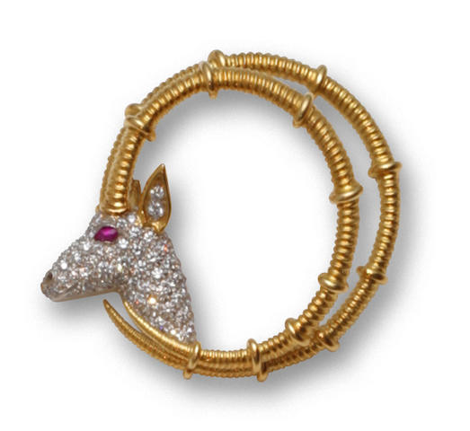 """A diamond and ruby """"Ibex"""" brooch, Jean Schlumberger, Tiffany & Co."""