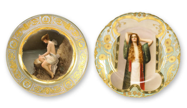 Two Vienna style porcelain cabinet plates