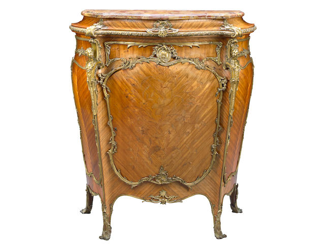 A good quality Louis XV style gilt bronze mounted marquetry kingwood side cupboard  Joseph-Emmanuel Zwiener fourth quarter 19th century