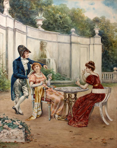 Casimiro Tomba (Italian, 1857-1929) A game of cards in the garden sight 29 x 21in