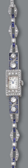 An art deco diamond, sapphire and synthetic sapphire watch, Omega,
