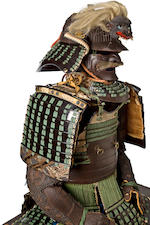 A green-laced suit of armor with a russet-iron cuirass Helmet by Masamoto, Edo period (18th century)