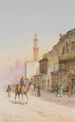 Spyridon Scarvelli (Greek, 1868-1942) Une mosqueé à Faqualla; Une rue du Mousky (2) each 13 1/4 x 8 1/4in (33.6 x 21cm) each unframed