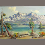 Frederick Richard Chisnall  (1887-1965) Mountain lake in summer; Lake at the base of the mountain (a pair) each 12 x 16in