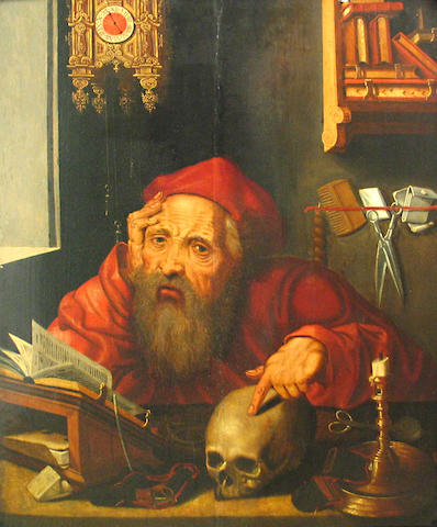 After Quentin Metsys  (Massys) St. Jerome in his study 27 1/2 x 21 1/2in