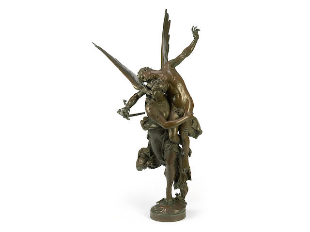 A French patinated bronze figural group: Gloria Victis  cast after the model by Marius-Jean-Antonin Mercié (French, 1845-1916) F. Barbedienne foundry late 19th century