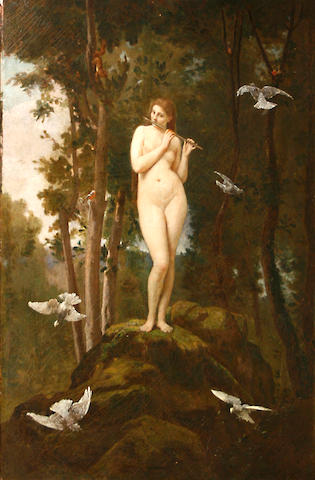 (n/a) Jules Joseph Meynier (French, 1826-died circa 1903) A nymph of the woods 40 1/4 x 28 1/2in