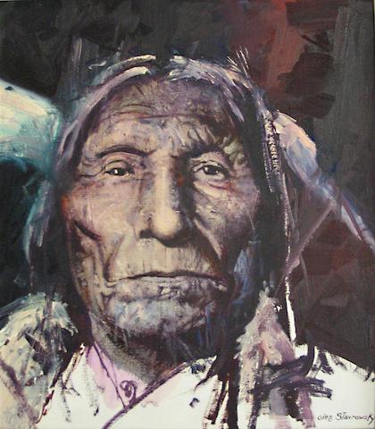 "Oleg Stavrowsky (American, born 1927) 'Chief ""Wolf Robe"" Cheyenne' 24 x 20in"