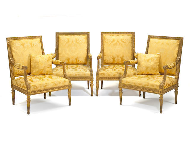 A set of four Louis XVI style fauteuils a la reine