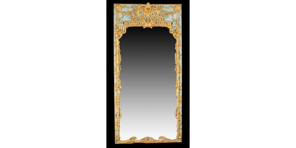 A large and important German Rococo blue painted and parcel gilt pier mirror  second quarter 18th century