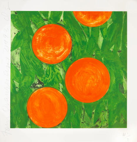 Donald Sultan (American, born 1951); Four Oranges, April 2;