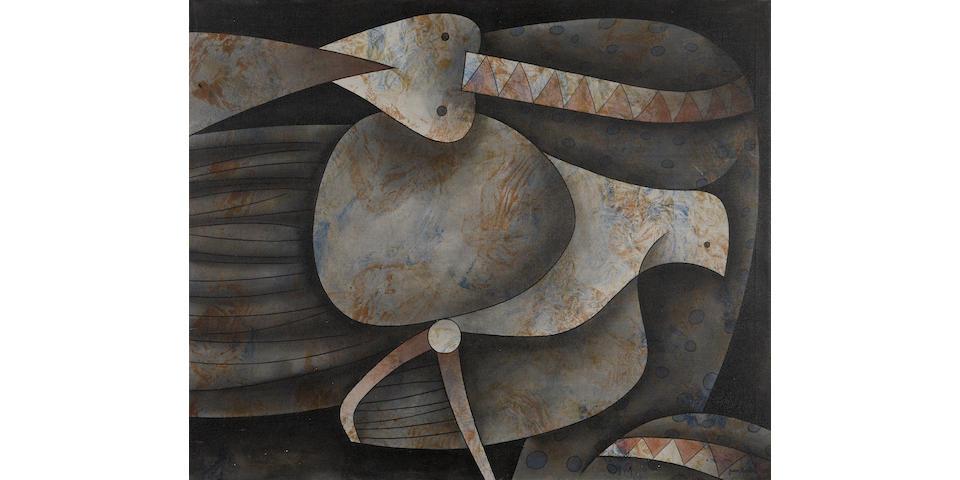 Juan Antonio Moreira (Cuban, born 1938) La serpiente y la paloma, 1995 31 7/8 x 38 3/4in