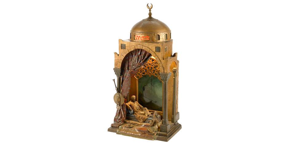 A Franz Bergman cold painted bronze Prince and Mandolin Player lamp circa 1900