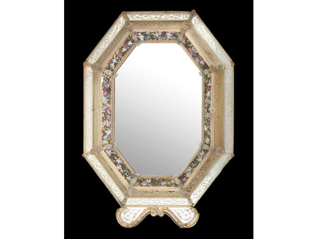 A grand Venetian micromosaic and acid etched  mirror  circa 1900