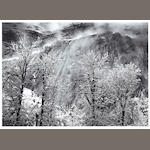 Ansel Adams (American, 1902-1984); Trees and Cliffs of Eagle Peak, Winter, Yosemite Valley, California; (2)