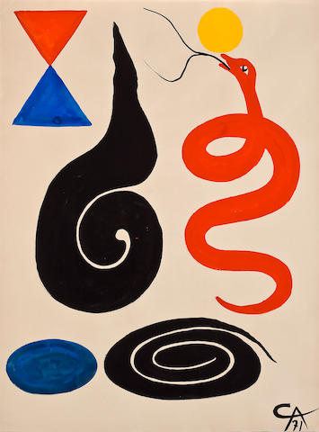 Alexander Calder (American, 1898-1976) L'enchanteur, 1971 30 11/16 x 22 13/16in (78 x 58cm)