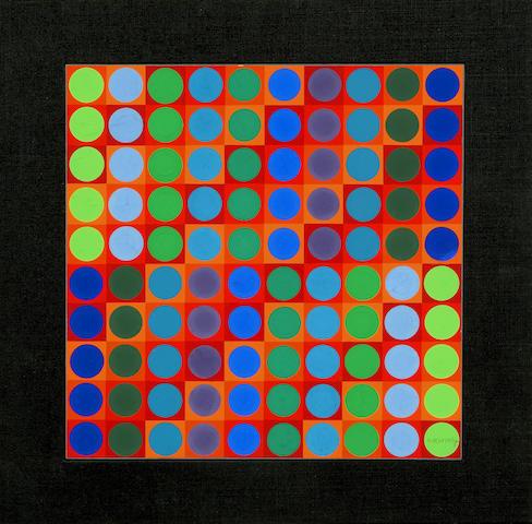 Victor Vasarely (Hungarian, 1906-1997) Kerek, 1964 11 13/16 x 11 13/16in (30 x 30cm)