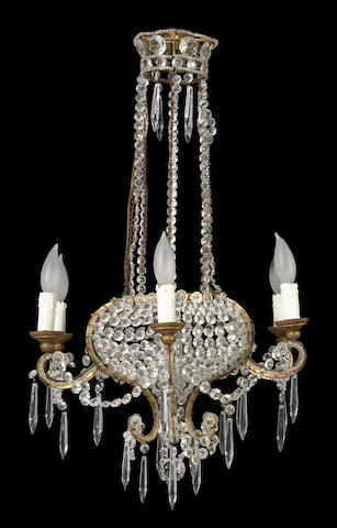A Belle Epoque style cut glass six light chandelier