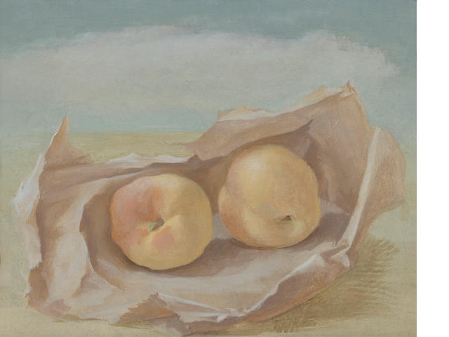 Helen Lundeberg (American, 1908-1999) Peaches, 1948 8 x 10in