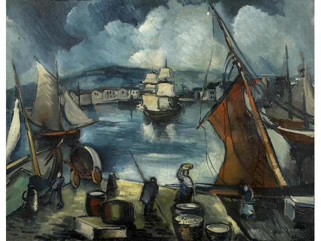 Maurice de Vlaminck (French, 1876-1958), AUTHENTICATING  Old port of Marseille 25 9/16 x 32in (65 x 81.2cm)