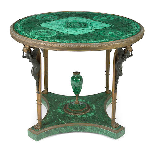 A Continental Neoclassical gilt bronze and patinated bronze mounted malachite center table