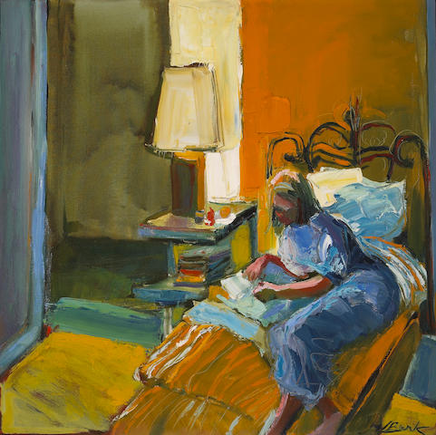 Henrietta Berk (American, 1919-1993) Girl Writing a Letter 30 x 30in