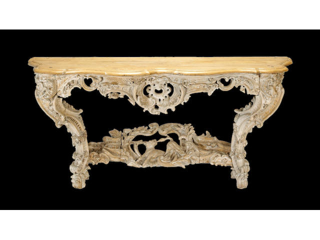 A Louis XV style painted oak console table