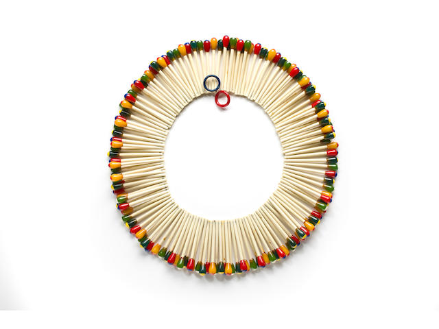 A Bakelite hand painted matchstick necklace