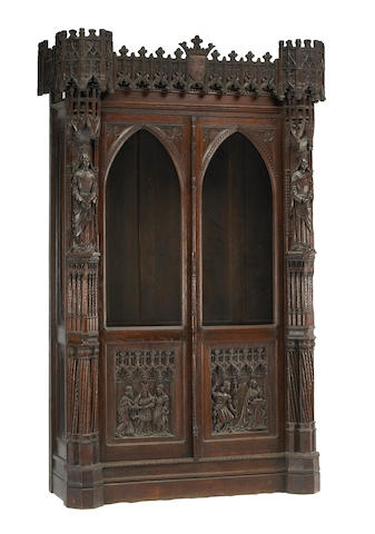 A French Gothic style walnut bookcase  late 19th century